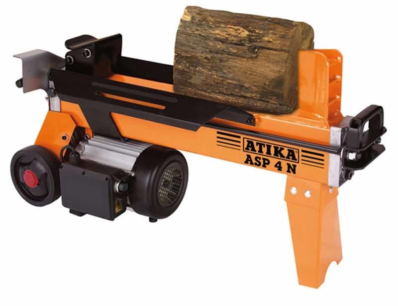 Liegender Holzspalter orange mit Rädern