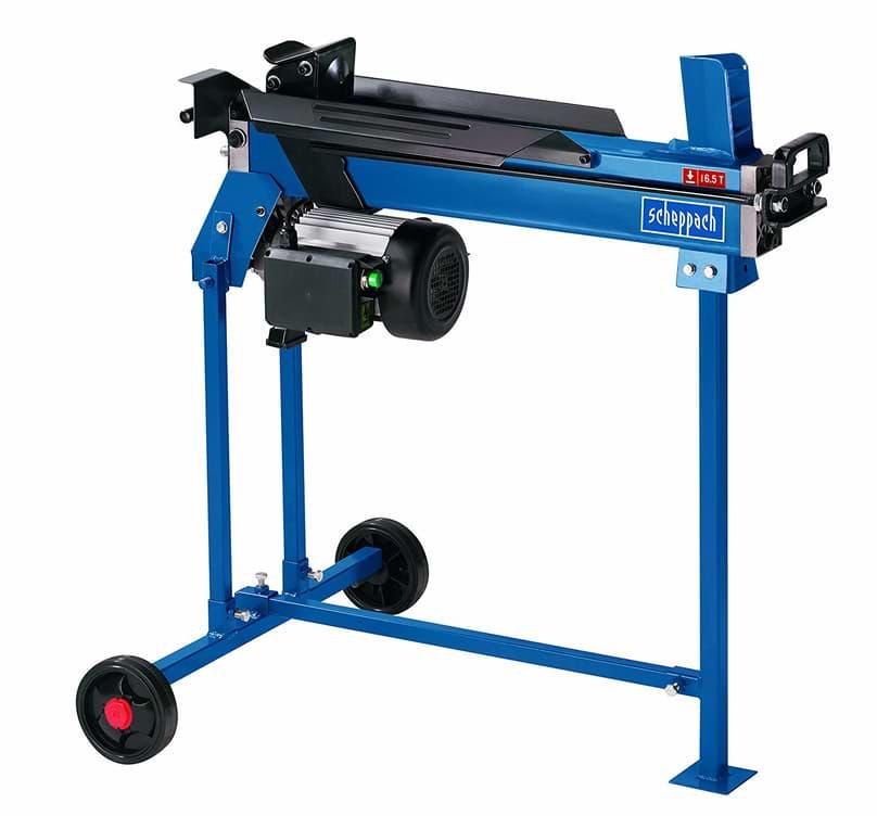 Holzspalter Scheppach blau mit Untergestell und 2 Rädern