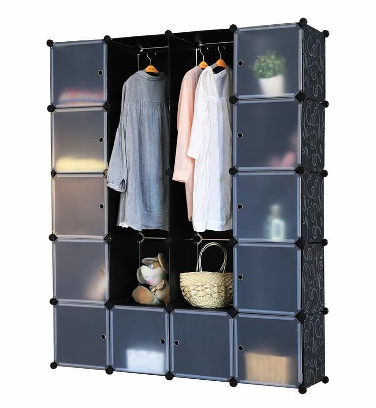 Kronenburg Regalsystem mit offenen und verschießbaren Fächern und Kleiderstangen