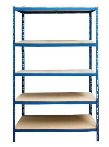 Blaues Schwerlastregal mit 5 Einlegeböden aus Holz